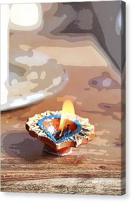 Fluttering Divali Holi Candle Canvas Print by Kantilal Patel