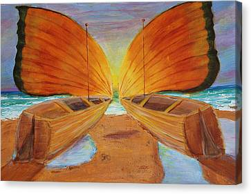 Canvas Print featuring the painting Fly Away Sunset by Christie Minalga