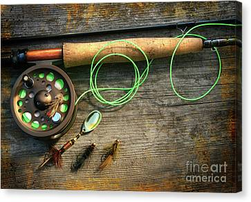 Fly Fishing Rod With Polaroids Pictures On Wood Canvas Print by Sandra Cunningham