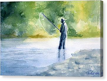 Canvas Print featuring the painting Flyfishing by Eleonora Perlic