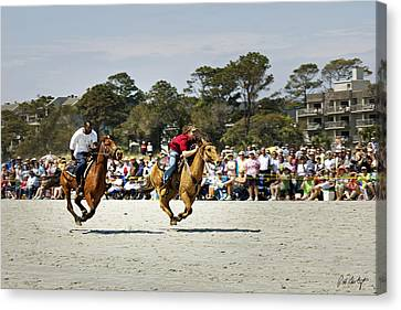 Flying At The Marsh Tacky Races Canvas Print by Phill Doherty