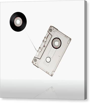 Cassettes Canvas Print - Flying Audio Cassette by daitoZen