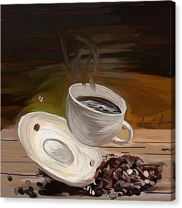 Flying Coffee Cup Canvas Print