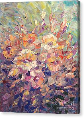Canvas Print featuring the painting Flying Glory by Tatiana Iliina