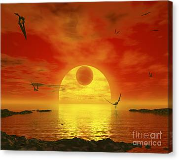 Gliese Canvas Print - Flying Life Forms Grace The Crimson by Walter Myers