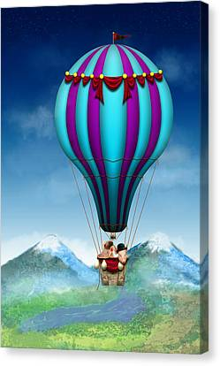 Hot Pink Custom Canvas Print - Flying Pig - Balloon - Up Up And Away by Mike Savad