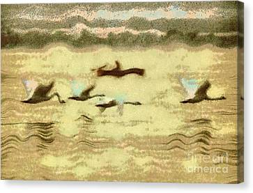 Flying Swans Canvas Print by Odon Czintos