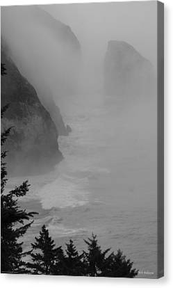 Fog And Cliffs Of The Oregon Coast Canvas Print by Mick Anderson