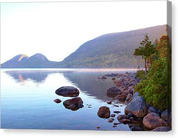 Fog Lifting Over Jordan Pond Canvas Print by Thomas Northcut