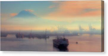 Fog Over The Tide Flats Canvas Print by David Patterson
