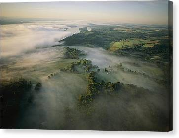 Fog Settles Into The Hudson River Canvas Print by Melissa Farlow