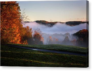 Canvas Print featuring the photograph Foggy Dawn by Tom Singleton