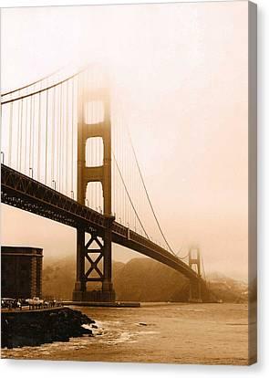 Foggy Golden Gate In Sepia Canvas Print by Rhonda Jackson