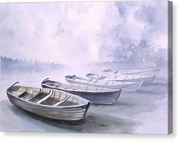 Canvas Print featuring the painting Foggy Morning by Richard Willows