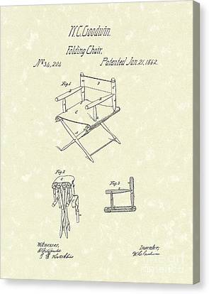 Camping Canvas Print - Folding Chair 1862 Patent Art  by Prior Art Design