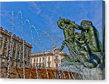 Canvas Print featuring the photograph Fontana Di Piazza Solferino by Sonny Marcyan