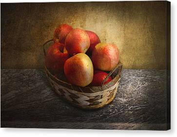 Food - Apples - Apples In A Basket  Canvas Print by Mike Savad