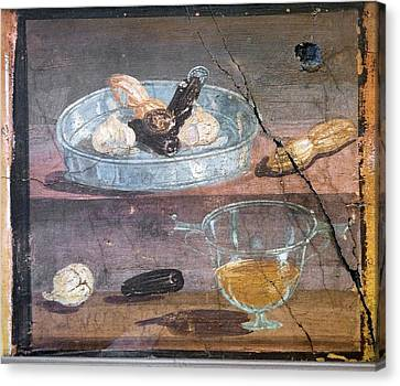Food And Glass Dishes, Roman Fresco Canvas Print by Sheila Terry