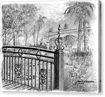 Florida Bridge Canvas Print - Footbridge-spanish Springs by Jim Hubbard