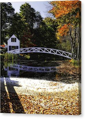 Footbridge With Autumn Colors Canvas Print by George Oze
