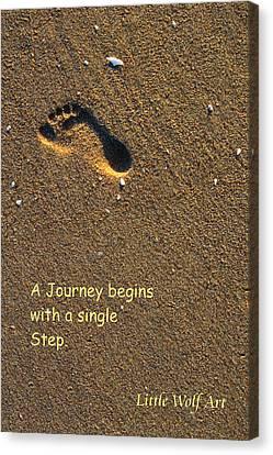 Footprint On Beach Quote Canvas Print