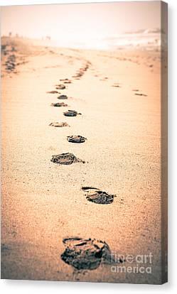 Footprints In Sand Canvas Print by Paul Velgos
