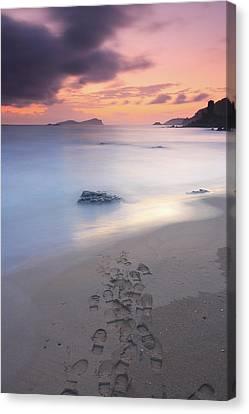 Footprints On Beach At Sunset Canvas Print by Oscar Gonzalez