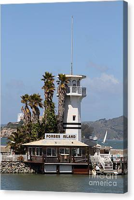 Forbes Island Restaurant With Alcatraz Island In The Background . San Francisco California . 7d14257 Canvas Print by Wingsdomain Art and Photography