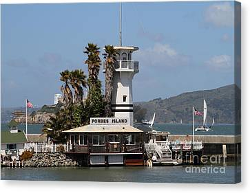 Forbes Island Restaurant With Alcatraz Island In The Background . San Francisco California . 7d14258 Canvas Print by Wingsdomain Art and Photography