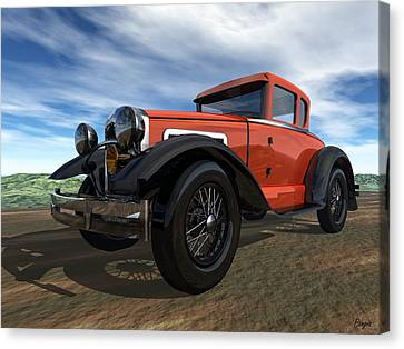 Canvas Print featuring the digital art Ford Model A by John Pangia