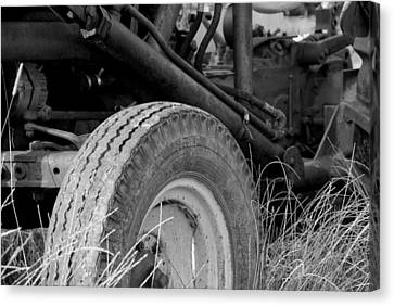 Ford Tractor Details In Black And White Canvas Print by Jennifer Ancker