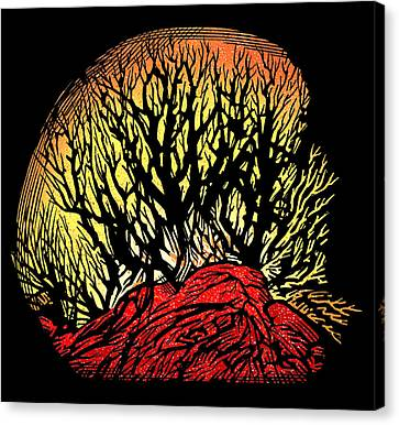 Forest Fire, Lino Print Canvas Print by Gary Hincks