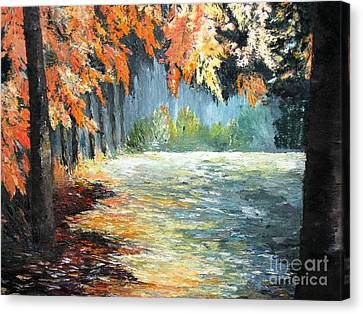Forest In Fall Canvas Print by AmaS Art