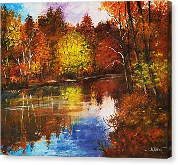 Canvas Print featuring the painting Forest Reflectons by Al Brown