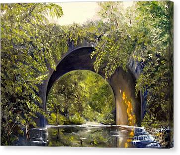 Canvas Print featuring the painting Forgotten Train Bridge by Carol Sweetwood