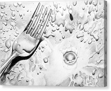 Canvas Print featuring the painting Fork And Drops by Eleonora Perlic