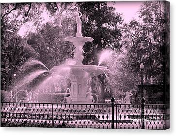Forsyth Park Fountain In Pink Canvas Print by Carol Groenen