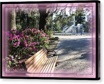 Forsyth Park In Spring Pink Canvas Print by Carol Groenen