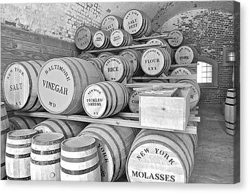 Fort Macon Food Supplies Bw 9070 3759 Canvas Print by Michael Peychich