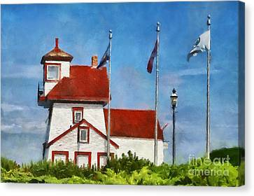 Fort Point Lighthouse In Liverpool Nova Scotia Canada Canvas Print by Mary Warner