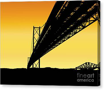 Forth Bridges Silhouette Canvas Print by Yvonne Johnstone