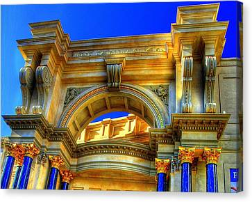 Canvas Print featuring the photograph Forum Shops Arch by Linda Edgecomb