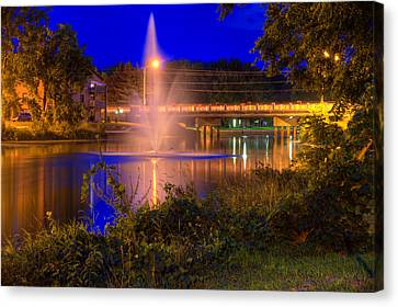 Fountain And Bridge At Night Canvas Print