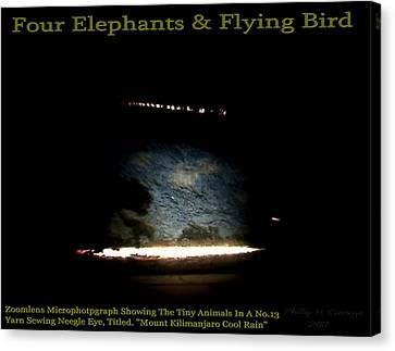 Four Elephants And Flying Bird  Canvas Print by Phillip H George