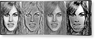 Four Interpretations Of Hilary Swank Canvas Print by J McCombie