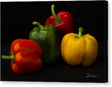 Four Peppers Canvas Print by Frederic A Reinecke