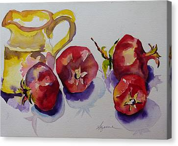 Four Pomegranates Canvas Print by Suzanne Willis