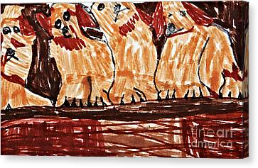 Four Puppies In A Row Canvas Print by Stephanie Ward