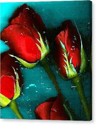 Canvas Print featuring the photograph Four Roses by Carolyn Repka