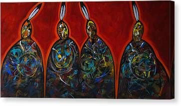 Four With A Feather Red Canvas Print by Lance Headlee